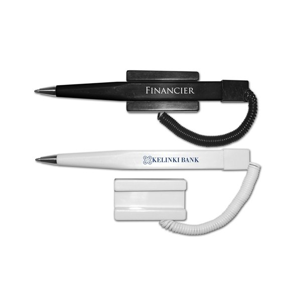 Promotional Financier Ball Point Pen with Coil Cord and Stick On Base