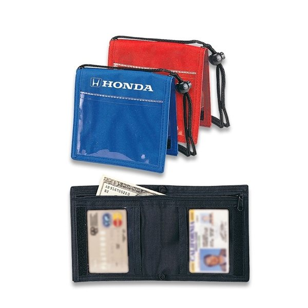 Promotional Bi - Fold Nylon Neck Wallet