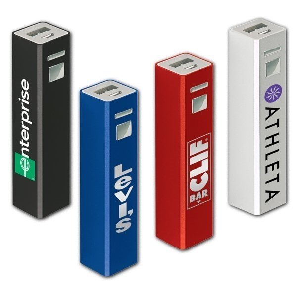 Promotional Tower of Power(TM) Aluminum Rechargeable Power Bank 2200 mAh