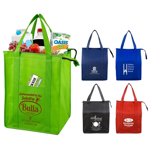 Promotional Super Cooler Large Insulated Zipper Tote Bag