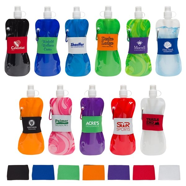 Promotional Comfort Grip 16 oz Water Bottle with Neoprene Waist Sleeve