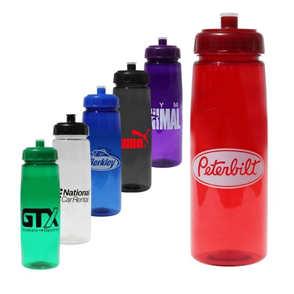 Promotional 30 oz Poly - Saver PET Bottle with Push n Pull Cap