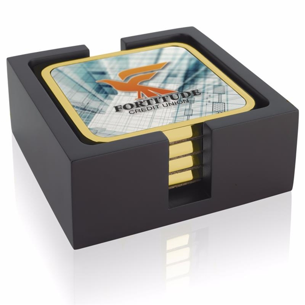Promotional Four Square Radiant Coasters with Wood Tray