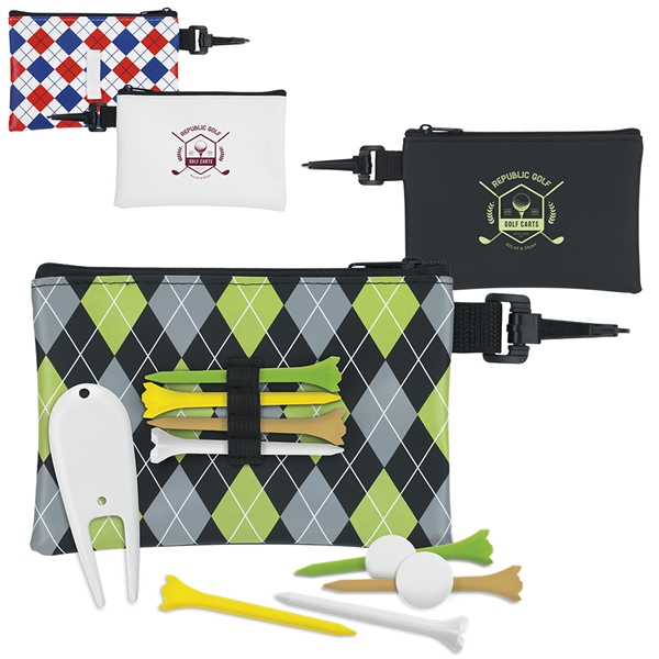 Promotional Pattern Golf Pouch Tee Kit - Value Pak