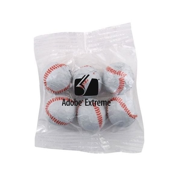 Promotional Medium Imprinted Bountiful Bag Filled with Chocolate Baseballs