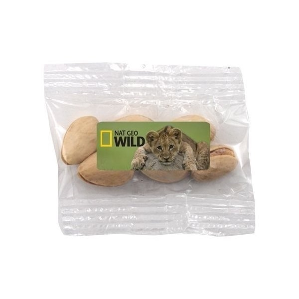 Promotional Small Labeled Bountiful Bag Filled with Pistachios