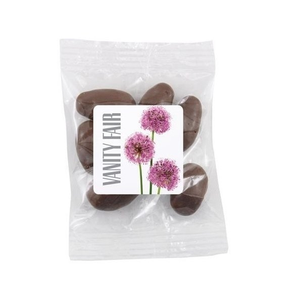 Promotional Medium Labeled Bountiful Bag Filled with Chocolate Covered Almonds