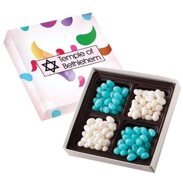 Promotional Square Custom Candy Box with Corporate Color Jelly Beans