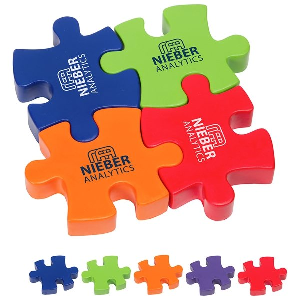 Promotional 4- Piece Connecting Puzzle Set - Stress Relievers