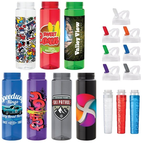 Promotional 25 oz PET Bottle with Flip Spout Ice Stick