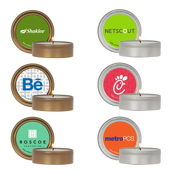 Promotional 2 oz. Scented Candle in Screw - Top Metal Tin