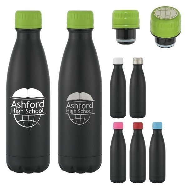 Promotional 16 oz Stainless Steel Matte Black Swiggy Bottle With Custom Box