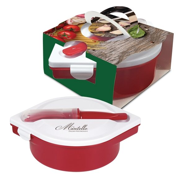 Promotional Multi - Compartment Food Container And Utensils With Custom Handle Box
