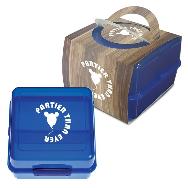 Promotional Split - Level Lunch Container With Custom Handle Box