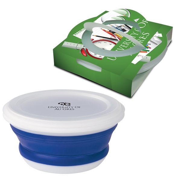 Promotional Collapsible Food Bowl With Custom Handle Box