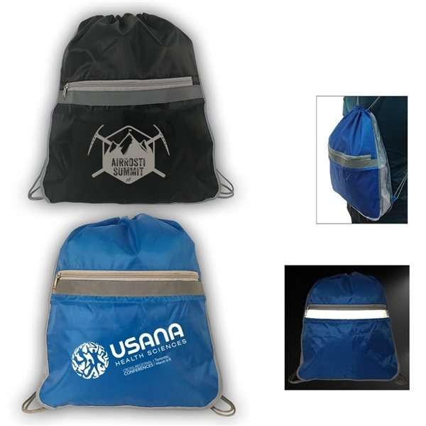 Spacious Drawstring Backpack With Reflector - Promotional Drawstring ... 308123b804bdf