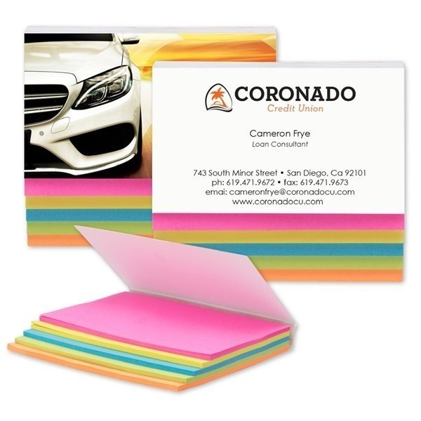 Promotional SimpliColor 5- Color Sticky Notes - Full Color Cover