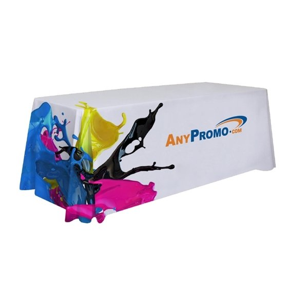 Promotional 8 ft. 3- Sided Seamless Table Drape - Dye Sublimated (8 x 28.5 x 28.5)