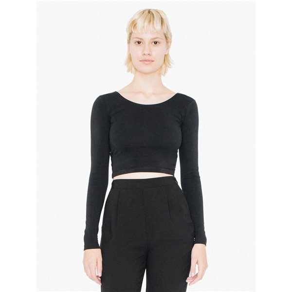 Promotional American Apparel Ladies Cotton Spandex Long Sleeve Crop Top