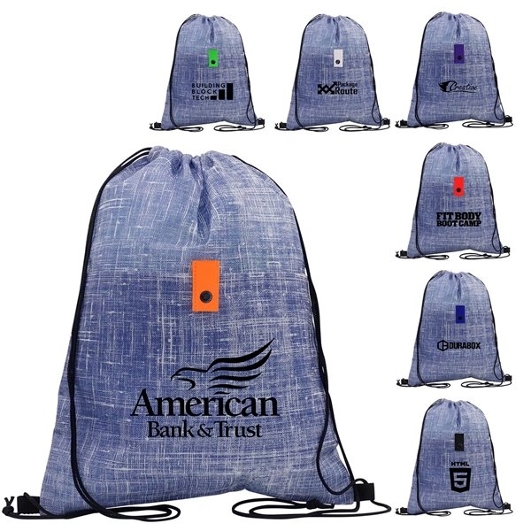 Promotional Blue Denim Drawstring Backpack