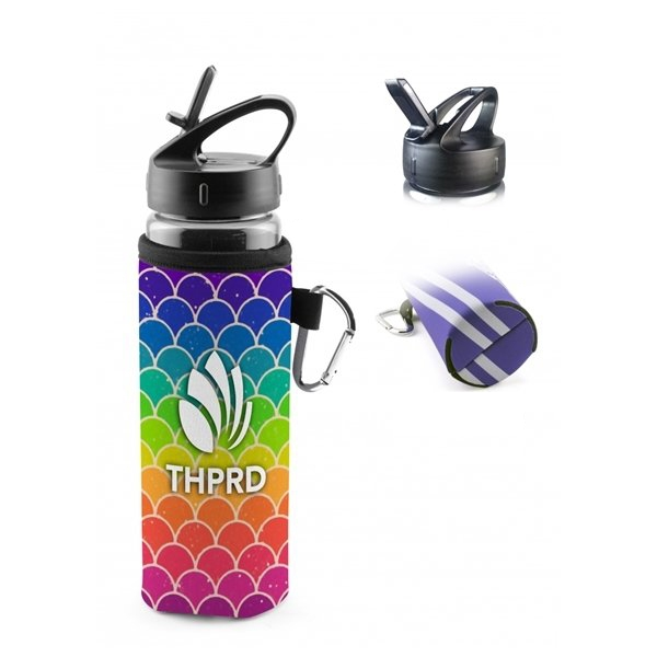 Promotional Frigid Full Color Travel Cold Sleeve Bottle with Carabiner