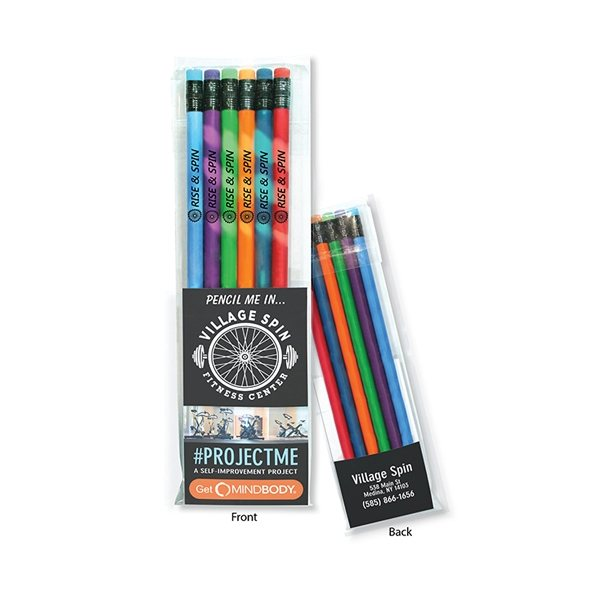 Promotional Create - A - Pack Pencil Set of 6 - Mood Pencil w / Colored Eraser