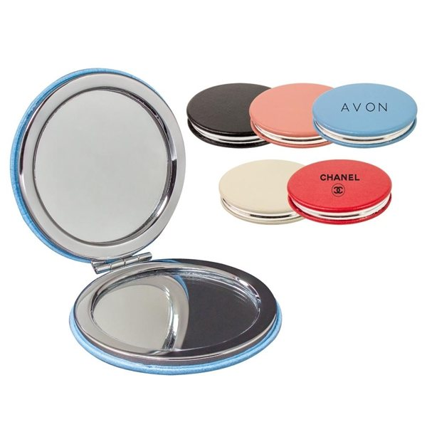 Promotional PU Leather Round Compact Mirror
