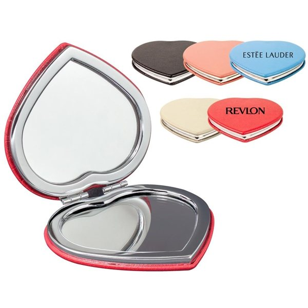 Promotional PU Leather Heart Compact Mirror