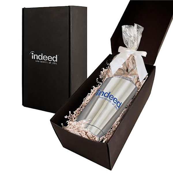 Promotional Soft Touch Gift Box With Vacuum Tumbler And Dark Chocolate Almonds Mug Drop