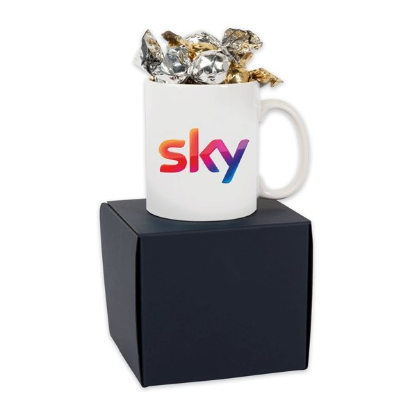 Promotional Soft Touch Mug Gift Box With Twist Wrapped Truffles