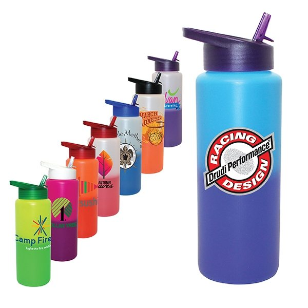 Promotional 32 oz Mood Sports Bottle With Straw Cap Lid, Full Color Digital