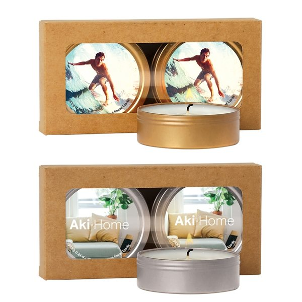 Promotional Scented Candle 2- Pack in Kraft Window Box