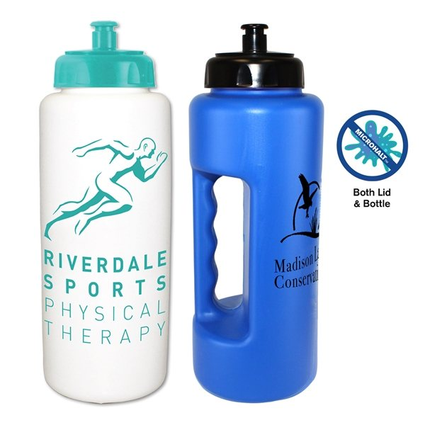Promotional 32 oz. MicroHalt Grip Bottle with Push n Pull Cap