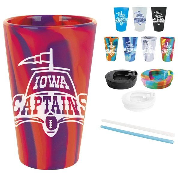 Promotional Silipint(TM) Straight Up Pint, Lid Straw