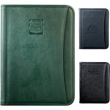 Durahyde Zippered Padfolio With 8.5''*11'' Writing Pad & Front Slot Pocket Black