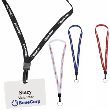 1/2 Inch Polyester Lanyard With Key Ring