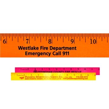 12'' Fluorescent Wood Ruler - English Scale