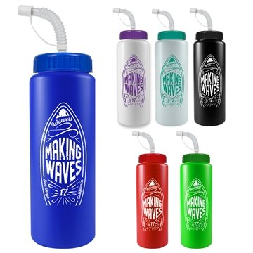32 oz The Sports Quart Water Bottle With Straw Lid