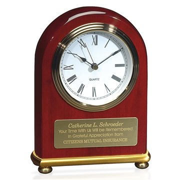 JAFF Collection Rosewood Arch with Brass Bezel Clock