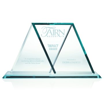 Jade Glass Wing Award - 13.75x7.75 Inch