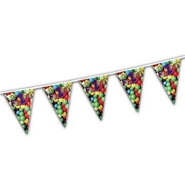 Custom Pennants, Triangles, 60ft-24 Pennants per string, 1 sided print.
