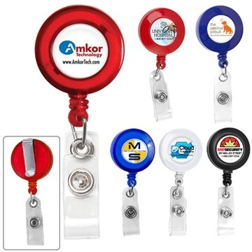 30'' Cord Round Retractable Badge Reel with Metal Slip Clip Backing And Badge Holder