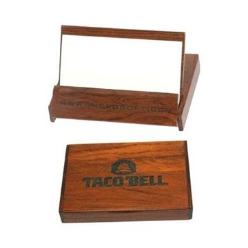 Flip-Top Rosewood Colored Business Card Holder