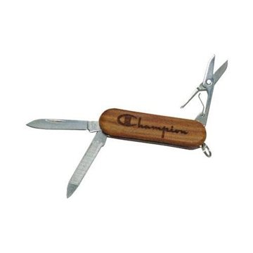 4-Function Lasered Wood Handle Knife