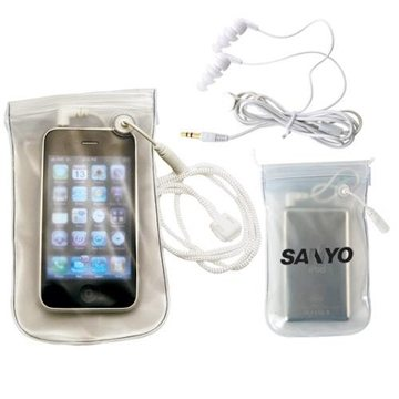 MP3/iPod Waterproof Case with Water-Resistant Earbuds