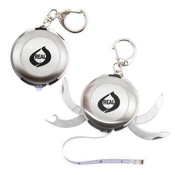Stainless Steel Key Ring Multi-Tool with Light and 3-ft. Tape Measure