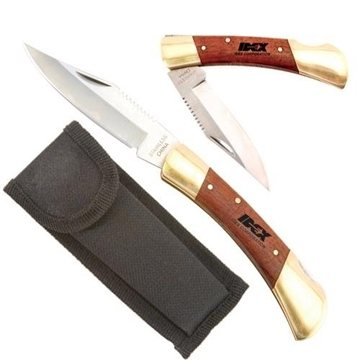 Large Rosewood & Brass Knife with Locking Blade