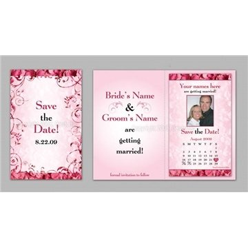 Save the Date - Pink Rose Petals - Executive Greeting Cards with Magnets