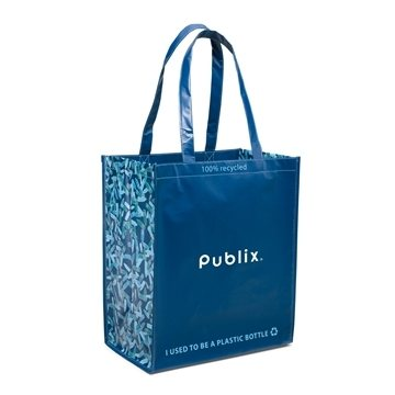 Fabric Blue Caribbean Shopper Tote Bag 15'' X 16''