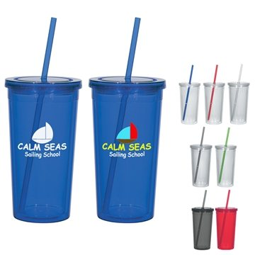 24 oz Custom Double Wall Tumbler With Straw